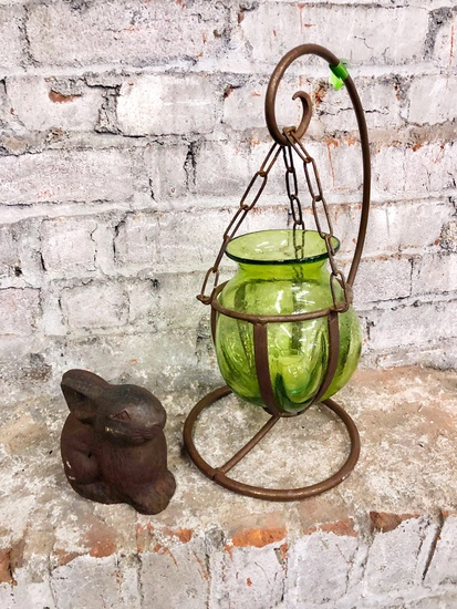 "12"" Iron Stand W/ Candle Votive;     Small Iron Rabbit"