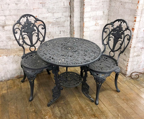 "Vintage Cast Aluminium Bistro Table W/ 2 Chairs - Table 26"" Dia. - LOCAL PI"