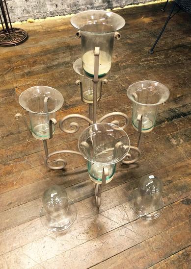 "Iron Candelabra - 28"", W/ 2 Extra Globes"