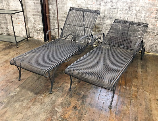 "2 Woodard Iron Chaise Loungers - 28""x72"" - LOCAL PICKUP ONLY"