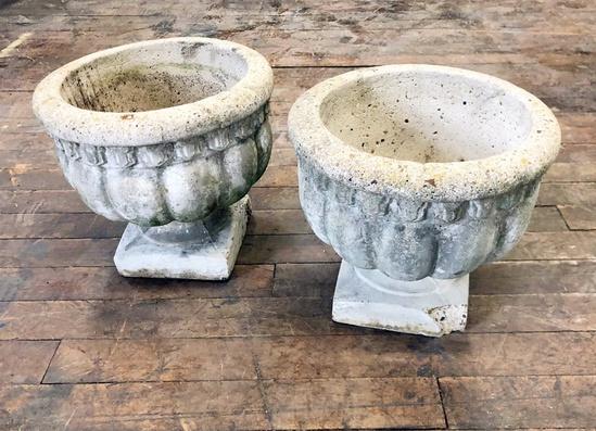 """2 Concrete Pots - 13""""x14"""" Dia., 1 W/ Corner Chip"""