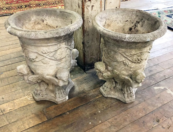 "2 Cast Concrete Urns - 19""x15"" Dia., 1 W/ Small Corner Chip"