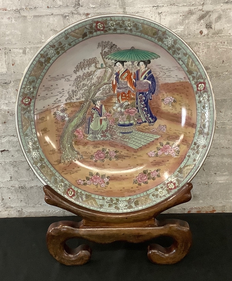 """Asian Enameled Hand Painted Charger/Bowl W/ Wooden Easel - 21"""" Tall"""