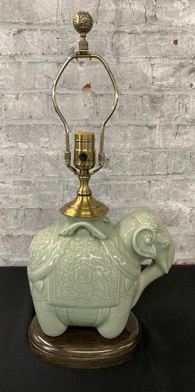 "Wildwood Designer Celadon Elephant Lamp - 20"" Tall"