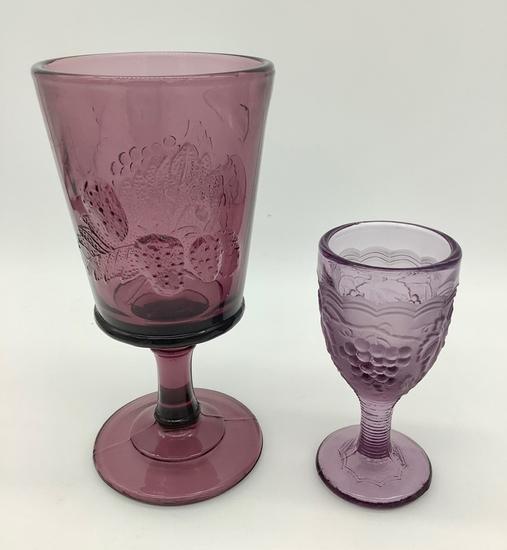 2 Amethyst Glass Stems