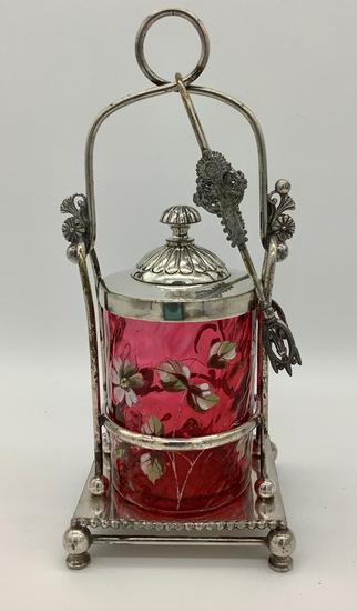 Victorian Amethyst Pattern Glass Enameled Floral Pickle Caster - Hairline C