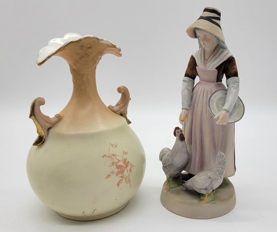 """Bisque Figure - French Style, 6"""" Tall;     Czechoslovakia Hand Painted Vase"""