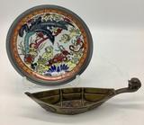 Old Brass & Enameled Boat Shaped Bowl - 7¼