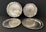 4 Silverplated Platters - Largest Is 15