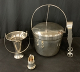 Vintage Silverplated Ice Bucket W/ Tongs;     Silverplated Bottle Pourer;