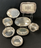 8 Small Pieces Silverplated Servers - Round Tray Is 6½