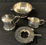 3 Pieces Hotel Silver - Condiment Liner Not Present;     Small Edwardian Ba
