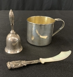 Sterling Baby's Cup;     Small Sterling Bell;     Sterling Handled Mother O