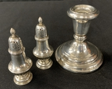 Weighted Sterling Candlestick;     Pair Sterling Shakers