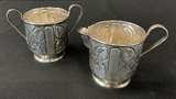 Pair Sterling Chased Creamer & Sugar Bowl - Marked Mexico