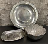 Wilton Armatel Bread Plate;     Heavy Aluminum Cabbage Bowl;     Large Pair