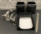 Jac Zagoory Designs Bear Staple Remover & Bull Stapler;     Vintage Letter