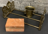 Vintage Sliding Brass Book Holder;     Contemporary Marble Box W/ Lid;