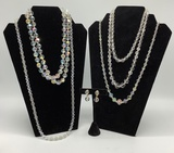 5 Vintage Crystal Necklaces - Circa 1930s-60s;     Pair Earrings - This Lot