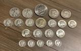2 Liberty Half Dollars - 1940 & 1945;     10 Quarters - 1958-64;     5 Merc