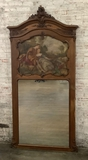 Oak Carved French Trumeau - 19th Century, Minor Tears In Canvas, Some Loss