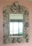 William Switzer Scartoccio Beautifully Hand Carved Mirror W/ Beveled Glass