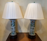 Pair Vintage Chinese Lamps - Double Sockets, 36