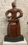 Original Wooden Sculpture By Adolph Klugman - Blacksmith ( Dedicated To Ado