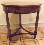 Inlaid Banded Drum Table W/ Drawer - 27½