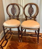 Pair Balloon Back French Chairs W/ Rush Seats - 17