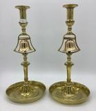 Pair Brass Candlesticks W/ Dinner Bell - 11