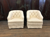 Pair Nice Tufted Swivel Arm Chairs W/ Damask Upholstery - 32