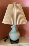 Wildwood Celadon Pottery Lamp W/ Dragon Design - 30