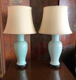 Pair Nice Celadon Pottery Lamps - 32
