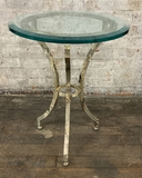 Painted Round Heavy Iron Table W/ Thick Beveled Glass Top - 20