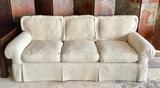 Custom Made Loose-Back Fringed Sofa W/  2 Pillows - 74