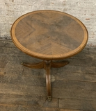Small Occasional Table W/ Matchbook Veneer Top W/ Glass - 20