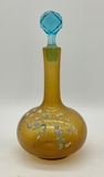 Victorian Amber & Blue Glass Decanter W/ Enameled Flowers - 9