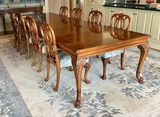 Karges Chippendale Style Dining Table W/ Table Pads, 10 Chairs & 3 Aproned