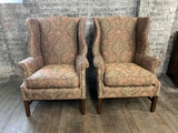 Pair Custom Upholstered Wing Chairs - 31