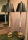 Pair Frederick Cooper Brass Candlestick Buffet Lamps - 38