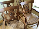 4 William Switzer Country Style French Directoire Arm Chairs W/ Basket Desi