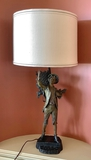 Spelter Painted Figural Lamp W/ Custom Shade - 33