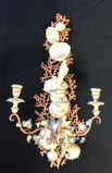 Very Cool Shell Design Carved  Wooden Wall Sconce - Some Loss, 18