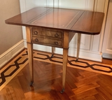 Pembroke Style Vintage Table W/ Tooled Leather Top & 1 Drawer - 34