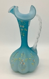 Victorian Satin Glass Ewer W/ Hand Enameled Flowers - 8