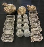 9 Salt Cellars;     8 Glass Shakers;     3 Partridge Shakers