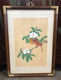 Asian Painting On Silk - Cardinals & Tree Blossoms, Signed, Framed W/ Glass