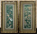 2 Antique Embroidered Silk Panels - Framed W/ Glass, 9½