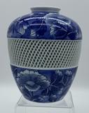 Blue & White Asian Open Latticework Vase - Signed